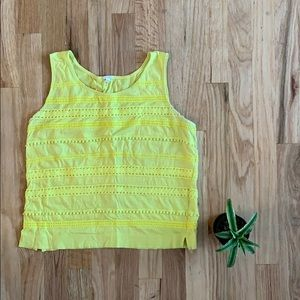 J.Crew XS Yellow Embroidered Tank Top